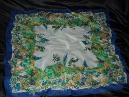 XXL Vintage Schal Tuch Chiffon Blumen Blüten Flowers creme blau grün h m Edel