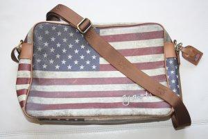 Y-Not? Umhängetasche USA / Tasche / beige,rot,blau,braun