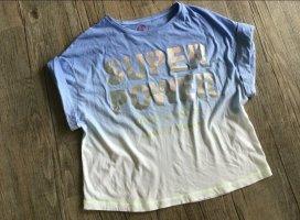 Yippie Hippie T-Shirt Shirt Batik Blau weiß Silber Statement Super Power Gr. S