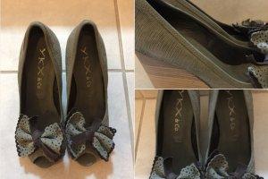 YKX&Co. Damen Peep Toes mit Keilabsatz grau grün 37
