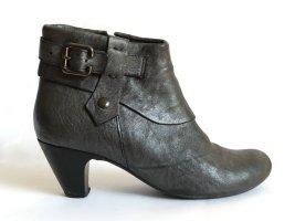 YKX & Co. Stiefeletten Ankle Boots anthrazit metallic Leder Gr. 40
