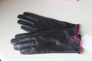 You&Me Fashion Leather Gloves black-pink leather