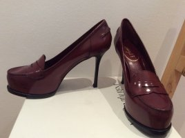 Saint Laurent High-Front Pumps bordeaux leather
