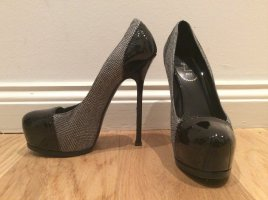 YSL Plateau Pumps, Tribtoo 105 Pump, Lackleder Tweed, Schwarz Weiß 39,5 39+