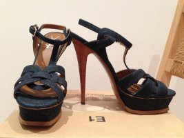 YSL Plateau Sandals, Tribute Tribtoo 105, Denim Jeans, EUR 40 / US 9