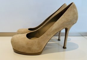 Yves Saint Laurent Plateauzool pumps zandig bruin Leer