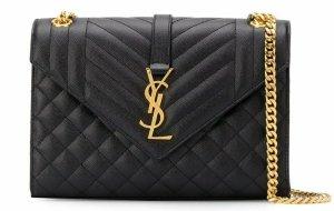 YSL Saint Laurent Tasche NEU 'Envelope' Schwarz Gold Kette Yves