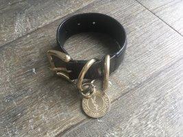 YSL Yves Saint Laurent Lederarmband schwarz Gold Armband