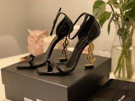 Saint Laurent Hoge hakken sandalen zwart-goud Oranje Leer