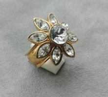 Yves Saint Laurent - sternförmig vergoldeter Kristall Ring (Gr. EU 54)