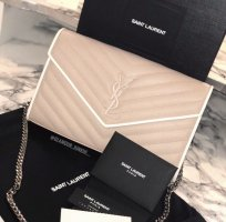Yves Saint Laurent Wallet Monogramme Pink Bianco Stepp Rose Weiß Tasche Clutch