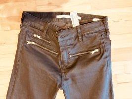 Zara Basic Hose Stretch Slim Gr 34 Braun beschichtet