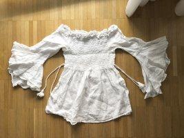 Zara Basic Schulterfreies Hängerchen Oberteil M Weiß