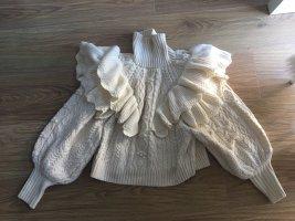 Zara Grof gebreide trui wit-wolwit