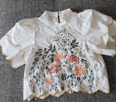 Zara bluse Blouse Weiß Blogger croptop mit Volant mit Blumen Sommenbluse