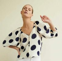 ZARA bluse PUNKTE wollweiss BLAU glänzend