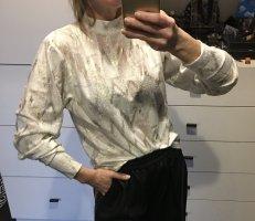 Zara Bluse weiß Silber Gold metallic tiefer Rückenausschnitt Lurex bauschige Ärmel Neu Shirt Pulli