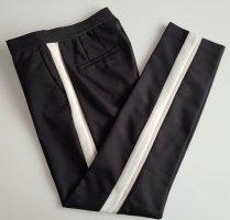 Zara Chino Slim Hose mit seitlichem streifen S schwarz-weiß-beige