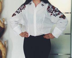 Zara Crop Bluse mit Stickereien und Ballonärmel in S Neu