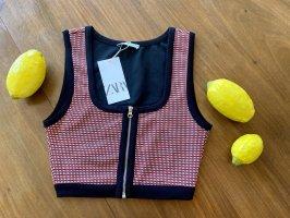 Zara: Crop Top mit Jacquardmuster, Größe S
