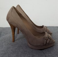 Zara Damen Plateau Pumps High Heels  Optik taupe Größe 36