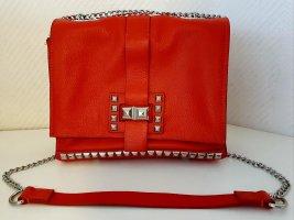 ZARA Echtleder Tasche mit Nieten Lipstick Rot