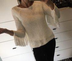 Zara Fransen Pulli Pullover Strickpulli Fringe Tassel weiß Grobstrick
