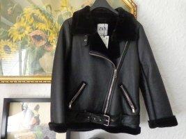 Zara Veste d'aviateur noir tissu mixte