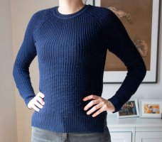Zara gestrickter blauer Pullover mit Knöpfen Gr. S/ M