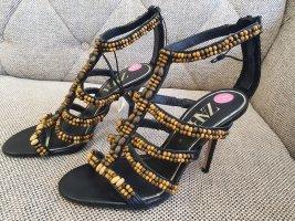Zara gr. 38 high heels Sandaletten sandalen riemchensandalen braun schwarz