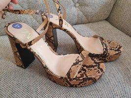 Zara gr. 40 neu sandalen sneakprint beige braun schlangenmuster Plateau Sandaletten blockabsatz