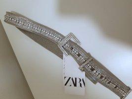 Zara Cinturón de cadera color plata