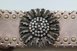 Zara Cinturón pélvico marrón grisáceo Cuero