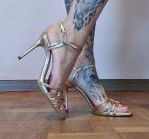 Zara High Heels Leder gold topp neuwertig elegant Sandaletten High Heels