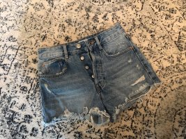 ZARA High Waist Denim Shorts Hot Pants Festival Destroyed