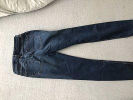 Zara Pantalon taille basse bleu foncé-bleu