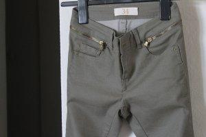 Zara Basic Pantalon kaki kaki coton