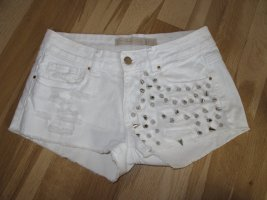 Zara Hotpants Shorts Hose Pants Weiß S XS 34 36 Nieten