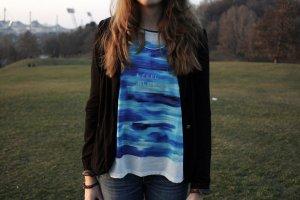 Zara I feel Blue Oversized Shirt chices Blusenshirt