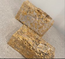 ZARA kastenförmige Clutch Gold