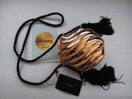 Zara kastenförmige kleine goldene Zara Partytasche-Clutch mit Quasten, neu