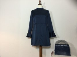 ZARA Kleid blau Satin Gr. L Kurz Rückenausschnitt edel neuw.