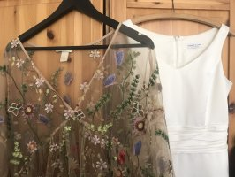 Zara Kleid Durchsichtig Bestickt Floral Blumen Muster Gr. M
