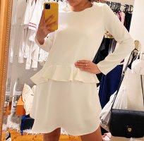 Zara Kleid Langarm Volant weiß neuwertig