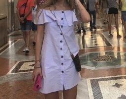 Zara Kleid Minikleid Sommerkleid schulterfrei hellblau