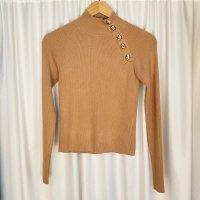 Zara knit pullover M 38 gold camel braun beige Knöpfe