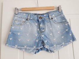 Zara Pantaloncino di jeans azzurro-bianco Cotone