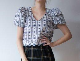 Zara Koszula o skróconym kroju biały-niebieski Bawełna