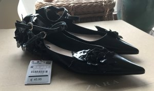 Zara Strappy Ballerinas black leather