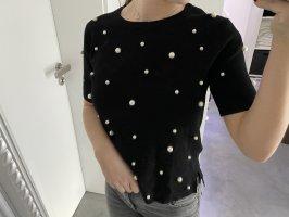Zara Oberteil Shirt Perlen schwarz Blogger S Fashion